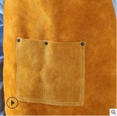 B级牛皮耐高温隔热电焊围裙分体式口袋电焊服 焊工防护服厂家批发