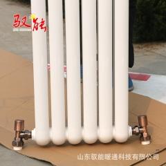 钢制双柱暖气片中心距1800mm 驭能暖通直销50*25圆片头钢制散热器