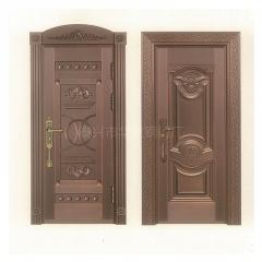 不锈钢镀铜双四开子母门 定制铜别墅大门 铜门 不锈钢仿铜门