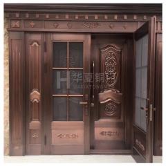 厂家直销 铜门别墅大门不锈钢镀铜双开门入户大门四开门支持定制