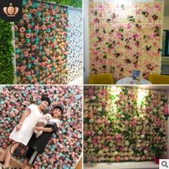 婚庆背景花墙仿真花商场橱窗装饰绿植墙 玫瑰绣球花排仿真植物墙