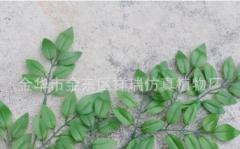 仿真植物假树叶豆花叶3叉浅槐树叶子榆树绿植拍摄工程装饰批发