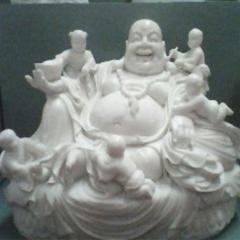 包邮石雕佛像汉白玉小型弥勒佛佛像雕塑家居摆件 佛像雕塑