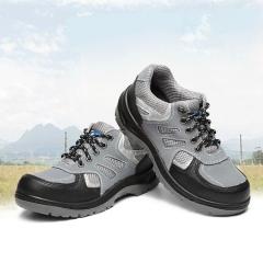 新款透气实心劳保鞋 达标钢头防砸防刺耐油防护安全工地登山鞋