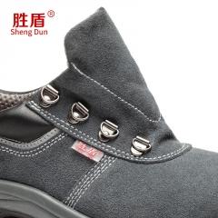 新款低帮劳保鞋 灰色反绒牛皮劳保鞋男女轻便休闲 防砸防刺穿