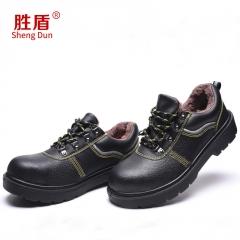 厂家批量处理冬季牛皮劳保棉鞋男女低帮加厚人造毛保暖舒适安全鞋