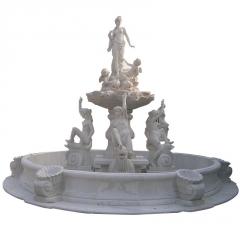 欧式人物大理石雕喷泉雕刻小天使雕塑层层喷泉水钵水池泉立方曲阳