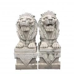 厂家直销晚霞红精品石狮子天然大理石石狮 石雕小狮子雕塑摆件