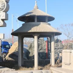 现货供应六角石雕凉亭 户外景点公园双层休闲凉亭来样定制