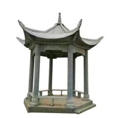 现货销售景观雕塑石雕凉亭 中式仿古石亭子天青石六角凉亭可定制