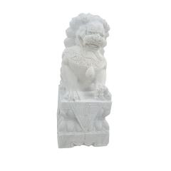 厂家定制大门摆件汉白玉石雕狮子 园林景区迎宾石狮子