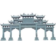 大型青石牌坊石雕牌楼加工定制 广场商业街景区石山门楼免费设计