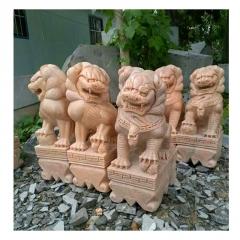 厂家直销晚霞红材质动物雕塑 麒麟大象各种石雕雕塑
