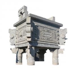 厂家加工石雕青石香炉祭祀烧香摆件 定做寺庙供奉长方形石鼎