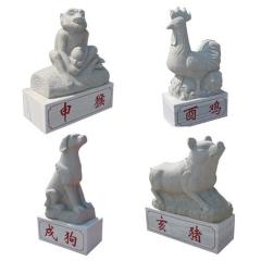 厂家直销十二生肖柱石雕 文化柱 罗马柱 盘龙柱华表 广场柱