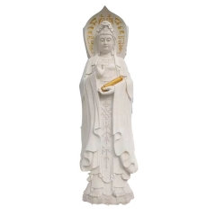 石雕观音像 汉白玉滴水观音像定制加工 寺庙佛像观音像 价格优惠