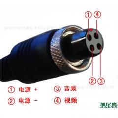 航空头视频转换线BNC/AV/DC录像机视频接口转换线 M12-4芯拾音线