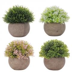 跨境货源厂家直销仿真绿植复古半圆草球植物盆景装饰假花盆栽摆件