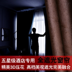 全遮光窗帘 有光涤阳电雕3D 压花遮光窗帘酒店别墅 纯色简约窗帘