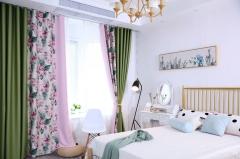 拼接窗帘成品韩式窗帘尼丝纺棉麻纯色田园 中式窗帘定制成品代发