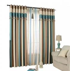 地中海 羊绒雪尼尔竖条窗帘 渐变色遮光帘 纯色条纹窗帘批发