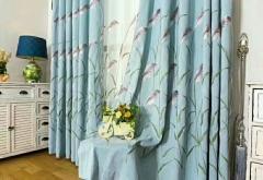厂家直销高档韩式田园卡通小清新棉麻精致绣花芦苇窗帘布客厅卧室