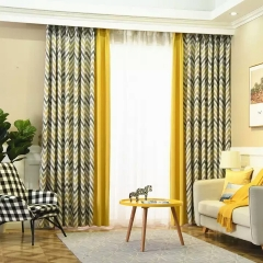 新款北欧风格窗帘客厅成品几何简约现代黄色遮光麻料卧室落地纱帘
