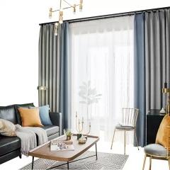 拼接撞色棉麻遮光窗帘 北欧ins风格素色窗帘 成品定制 天鹅绒麻
