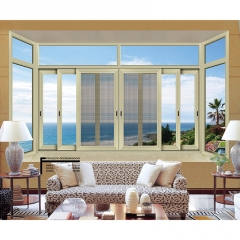 佛山厂家直销一体门窗定制 铝合金推拉门窗 客厅高档开窗 防盗窗