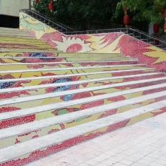 公园酒店景观墙阶梯玻璃水晶陶瓷碎瓷片拼图碎陶瓷马赛克厂家直销