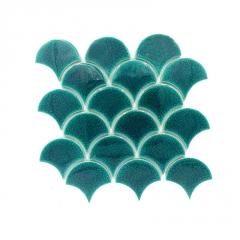 扇形陶瓷马赛克瓷砖鱼鳞形装饰瓷砖厕所卫生间泳池冰裂马赛克