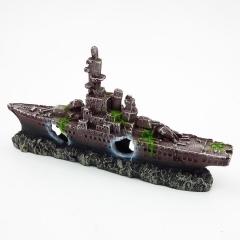仿真军舰航空母舰 沉船躲避洞 军事设备 鱼缸造景装饰 心理沙盘