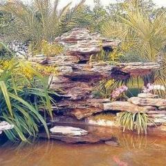 产地直销千层石庭院假山水景  私人订制 景观设计施工制作