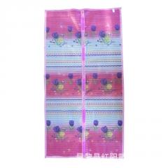 紫色浪漫版自动闭合门帘厂家定制 夏季防蚊门帘多规格