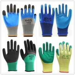劳保手套pvc挂胶耐磨防滑手套丁青发泡线皱压纹浸胶工业搬砖手套