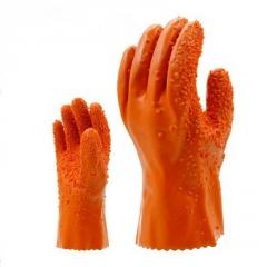东亚807浸塑止滑手套 耐油耐酸碱手套  内层棉毛里劳保手套
