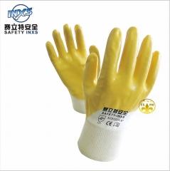 经销批发赛立特INXS N19120A丁腈耐油手套胶手套劳保作业手套耐油 白和黄 8