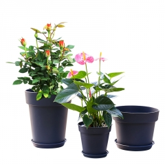 环球霍仑盆树脂多肉盆栽加厚矮胖绿萝月季花盆黑色塑料加仑花盆