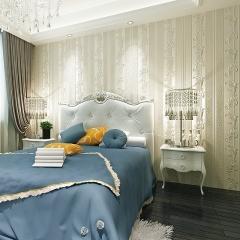 奢华欧式3d立体条纹墙纸卧室客厅电视背景墙环保无纺布蓝色壁纸