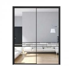 阳台门钛镁铝合金推拉门极窄边框推拉玻璃门黑色窄边钢化玻璃移门