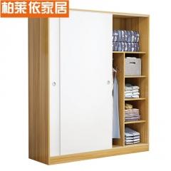 简约现代衣柜实木质2门整体经济推拉移门板式卧室成人柜子大衣橱