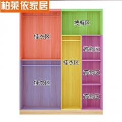 简易衣柜实木经济型推拉门组装柜子现代简约出租房用滑动卧室衣橱