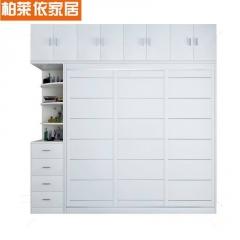 衣柜推拉门简约现代经济型实木质板式组装卧室2门3门移门衣橱定制