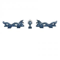 厂家供应 合成树脂瓦双龙戏珠 屋顶装饰配件 仿古屋顶树脂瓦