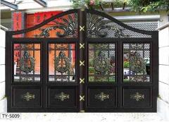 庭院大门 农村电动平移门推拉折叠 铝艺别墅大门铝合金双开门门