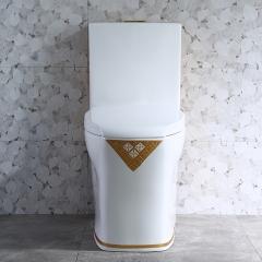 欧式超漩连体马桶彩金轻奢大管道地排式座厕家用防堵陶瓷坐便器