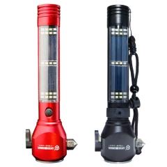 太阳能充电手电筒USB  多功能LED户外强光手电筒 车载应急安全锤