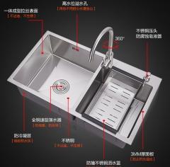 箭牌卫浴SUS304厨房洗碗水槽拉丝双槽3mm加厚不锈钢洗菜 批发OEM