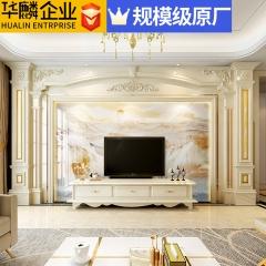 华麟企业大理石罗马柱背景墙微晶石瓷砖客厅欧式石材边框装饰造型