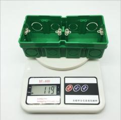 厂家直销 86型加高加厚自扣双联暗装接线盒 PVC阻燃绿色暗盒 8630 172×86×51